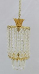 Tall Drum Lamp Chandelier w/ Crystals