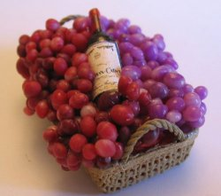 Wine Basket with Grapes