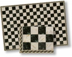 Black & Beige Faux Marble Tile Flooring