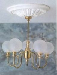 5 Arm Chandelier w/Round Frosted Globes