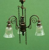 3 Arm Gas Down Light Clear Bell Shade Chandelier