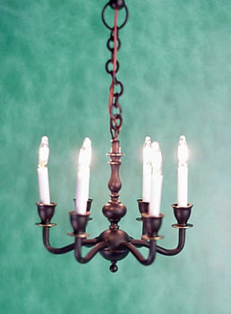 "1/2"" Black 6-Arm Chandelier"