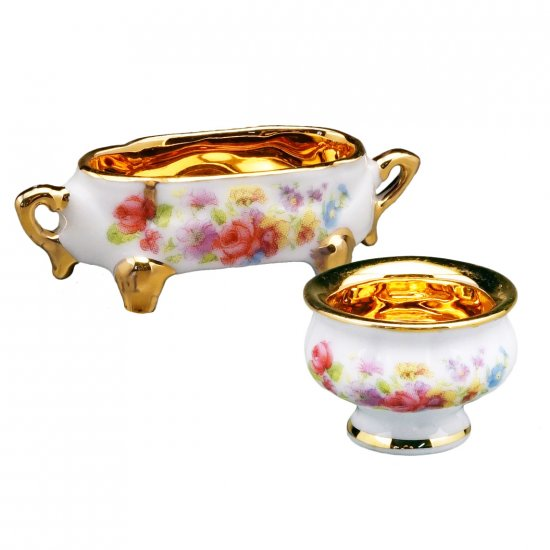 2 Golden Bowls/Floral - Click Image to Close