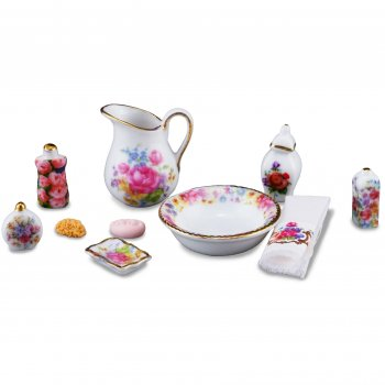 Bathroom Wash Set, Dresden Rose