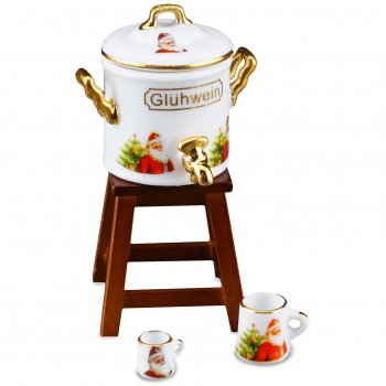 Gluhwein Pot w/ Stool, Christmas