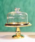 Brass Cake Plate w/Glass Cover, DISC