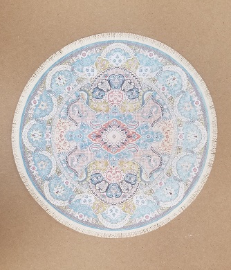 Rug, Round w/ Fringe, Blue/Pink - Click Image to Close