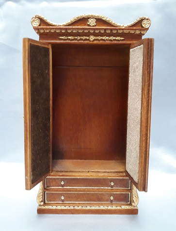 Ferdinand Wardrobe, New Walnut/Gold - Click Image to Close