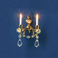 2 Arm Brass Candle Crystal Sconce
