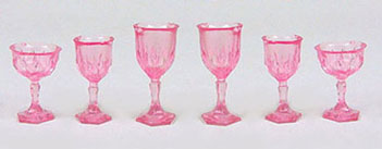 Cut Stemware, Pink 6pc
