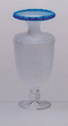Blue Edge Frosted Grecian Vase