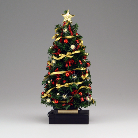lighted redgold bow christmas tree