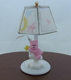 Nursery Lamp, Pink Bear w/ Stars