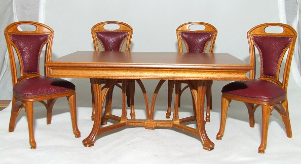 Art Nouveau Dining Room Set 5pcs Walnut