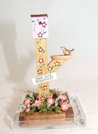 Dollhouse Jeannetta Kendall White Bird House Birdhouse Miniatures for Doll House