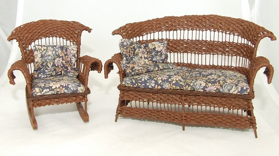 Wicker Settee & Rocking Chair, Brown Floral - Click Image to Close