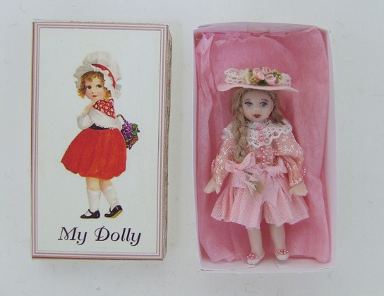 Porcelain Baby Doll in Box, Pink - Click Image to Close