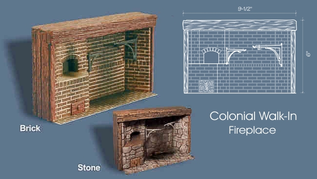 Colonial walk in cooking fireplace brick bpf1203 105 for Walk in fireplace designs