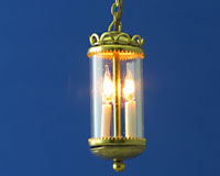 Two-Light Brass Enclosed Hanging Fixture