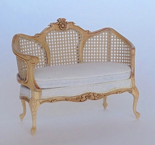 Exceptional Andrea Cane Settee, Natural