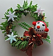 Christmas Wreath, Snowman - Click Image to Close