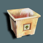Square Planter w/ Decor Tile, 1""