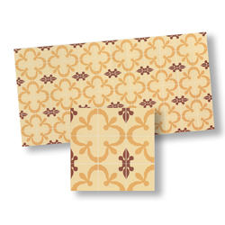 Mosaic Floor Tile, Tan/Brown & Red
