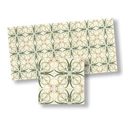 Mosaic Floor Tiles, Green and Cream