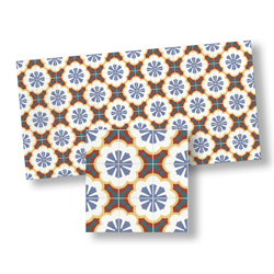 Mosaic Floor Tile, Blue, Red, Turqouise & Gold