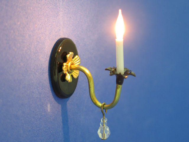 Sconce Black & Brass w/Crystal Drops