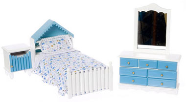 Single Bed Set, White & Blue - Click Image to Close