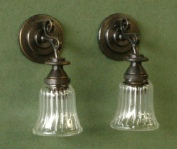 Clear Ribbed Wall Sconce, Pair