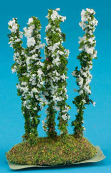 Larkspur Flower, White, 5pc