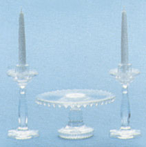 Cake Plate/Candlesticks, Clear Crystal
