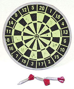 Dartboard With 3 Red Darts - Click Image to Close