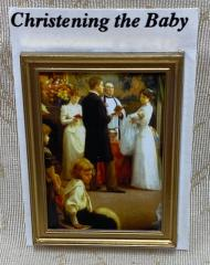 Christening the Baby Print in Gold Frame