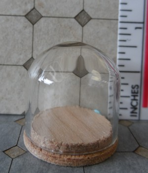 "Glass Dome with Wood Base 7/8""x3/4"""