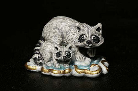 Raccoons Bronze Handpainted Sculpture