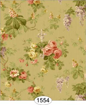 Wisteria 2 Olive Green Wallpaper Click To Enlarge