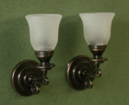 Frosted Bell Shade Sconces, Pair