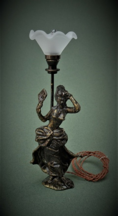 Bronze Lady Fluted Shade Lamp - Click Image to Close